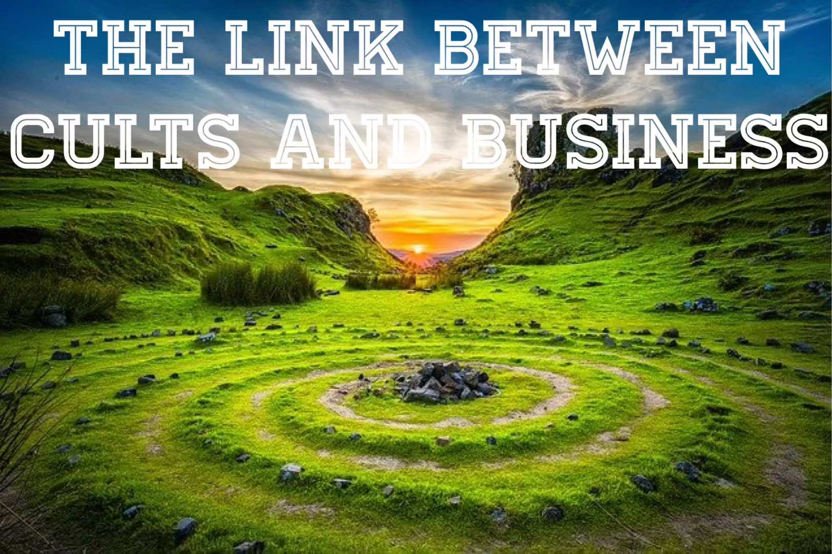 a concentric ring appears as a worship site with the title, the link between cults and business